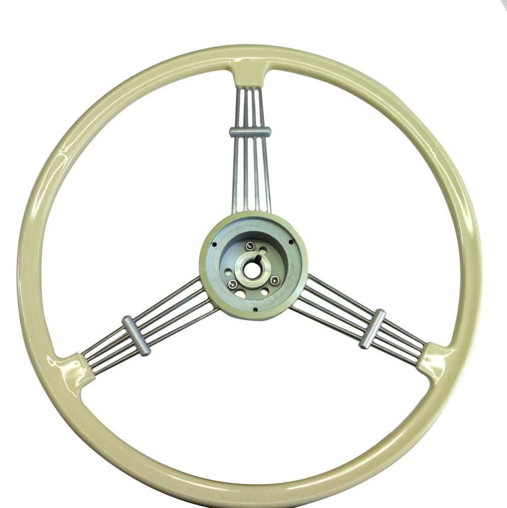 Flat 4 Banjo Steering Wheel, Ivory w/Boss, Top Quality 55-67