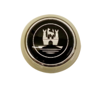 Steering Wheel Horn Push, Grey with Chrome Crest 55-67.   211-951-301GC