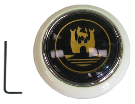 Steering Wheel Horn Push, Grey with Gold Crest 55-67.   211-951-301GG