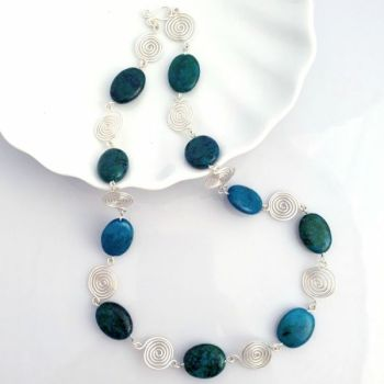 Azurite Chryscolla and Spiral necklace