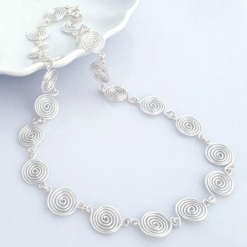 Open Silver Spiral Necklace