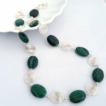 Malachite ovals with silver wire spirals necklace