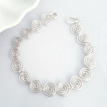 Celtic silver spirals bracelet