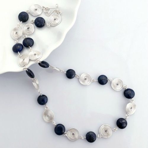 Lapis Lazuli and silver spirals necklace