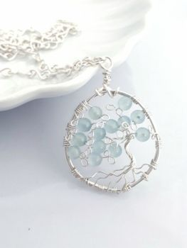 Aqua Marine Tree of Life Pendant