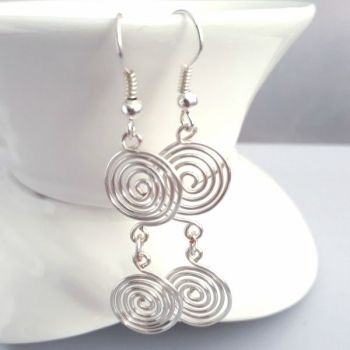Double open spiral earrings