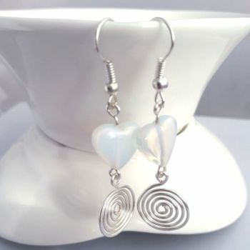 Moonstone hearts and silver spiral earrings