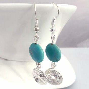 Turquoise and silver spiral earrings
