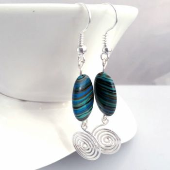 Blue Malachite and silver open spiral earrings