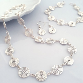1 Open and Closed Spiral Set Necklace, Bracelet and Earrings