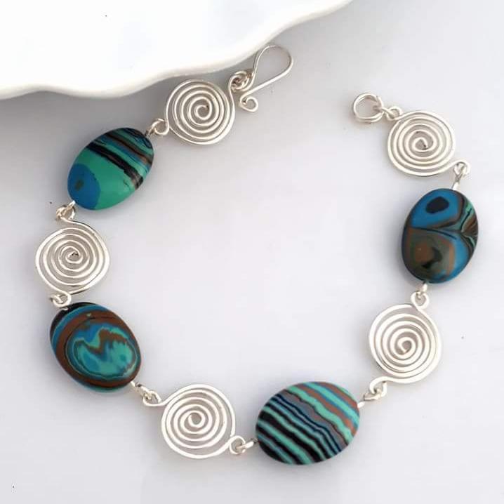 Blue Malachite spiral bracelet 3