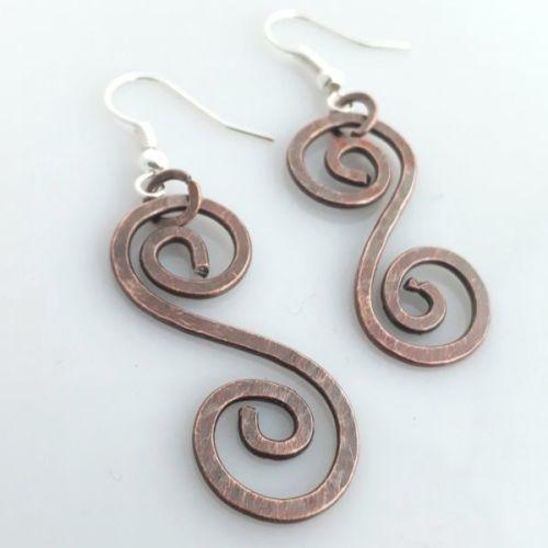 Celtic copper spiral earrings