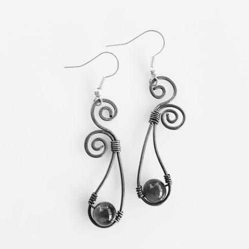 Large hoop spiral earrings