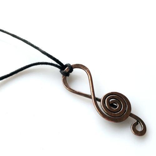 Copper music note pendant