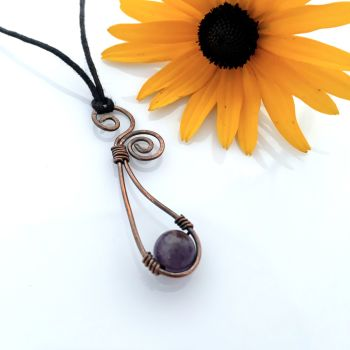Amethyst scroll spiral pendant