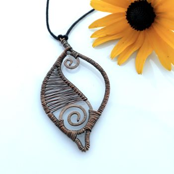 Copper wire wrapped leaf pendant