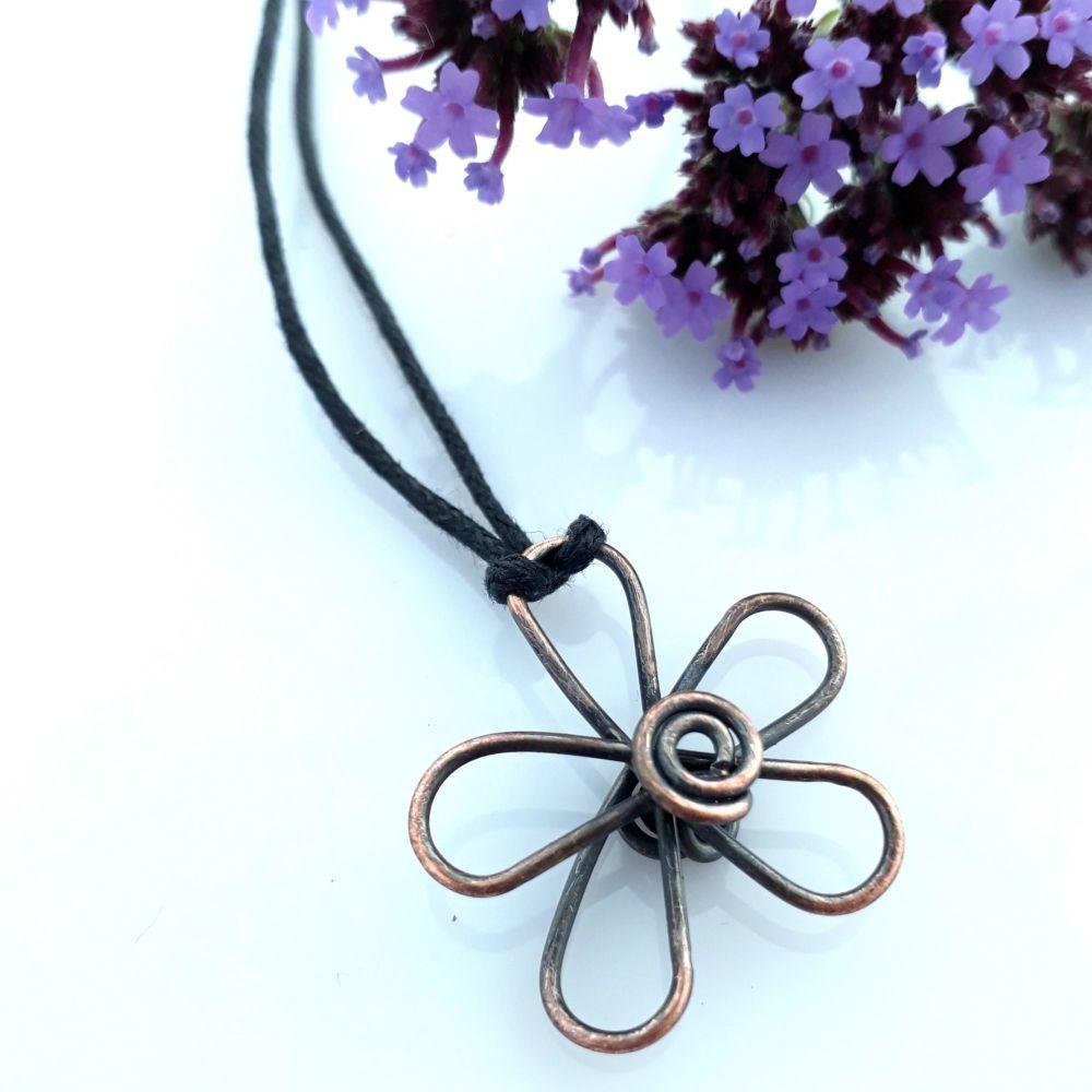 Copper daisy flower pendant necklace