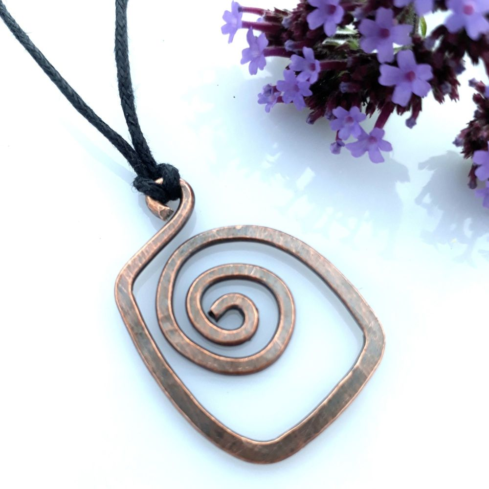 Square spiral copper pendant necklace