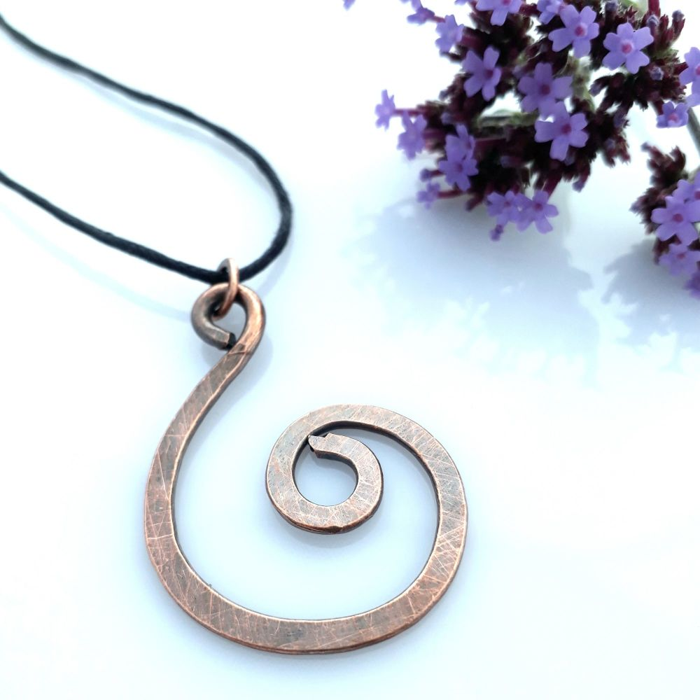 Large spiral copper pendant necklace