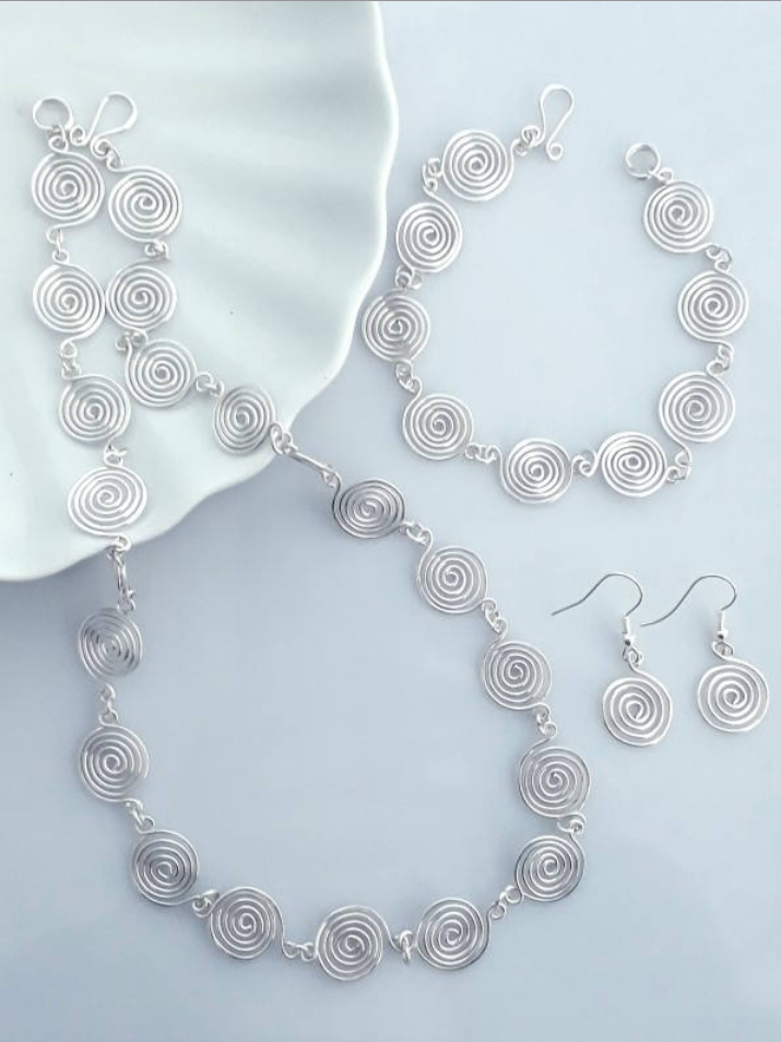 Open spiral Set Necklace Bracelet and Earrings