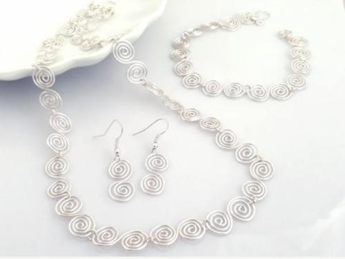 Celtic spiral Set Necklace Bracelet and Earrings