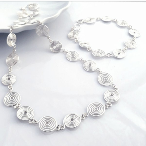 2 Open spiral Set Necklace and Bracelet