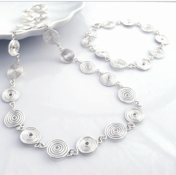 2 Open spiral Set Necklace and Bracelet