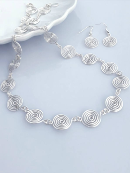3 Open spiral Set Necklace and Earrings