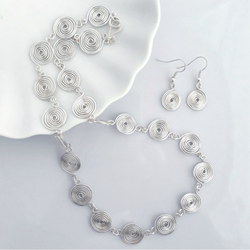3 Open and Closed spiral Set Necklace and Earrings