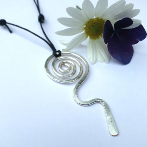 Tribal Silver Spiral Pendant