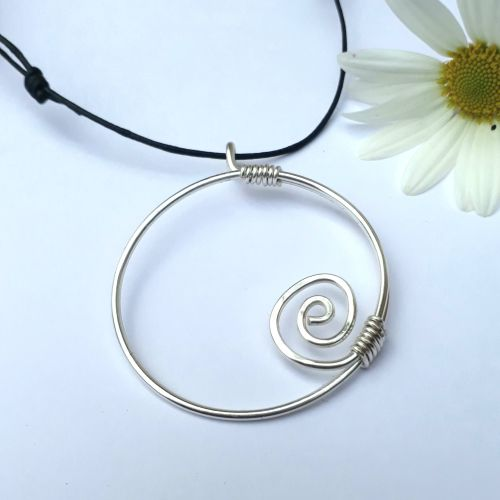 Large Silver Circular Spiral Pendant