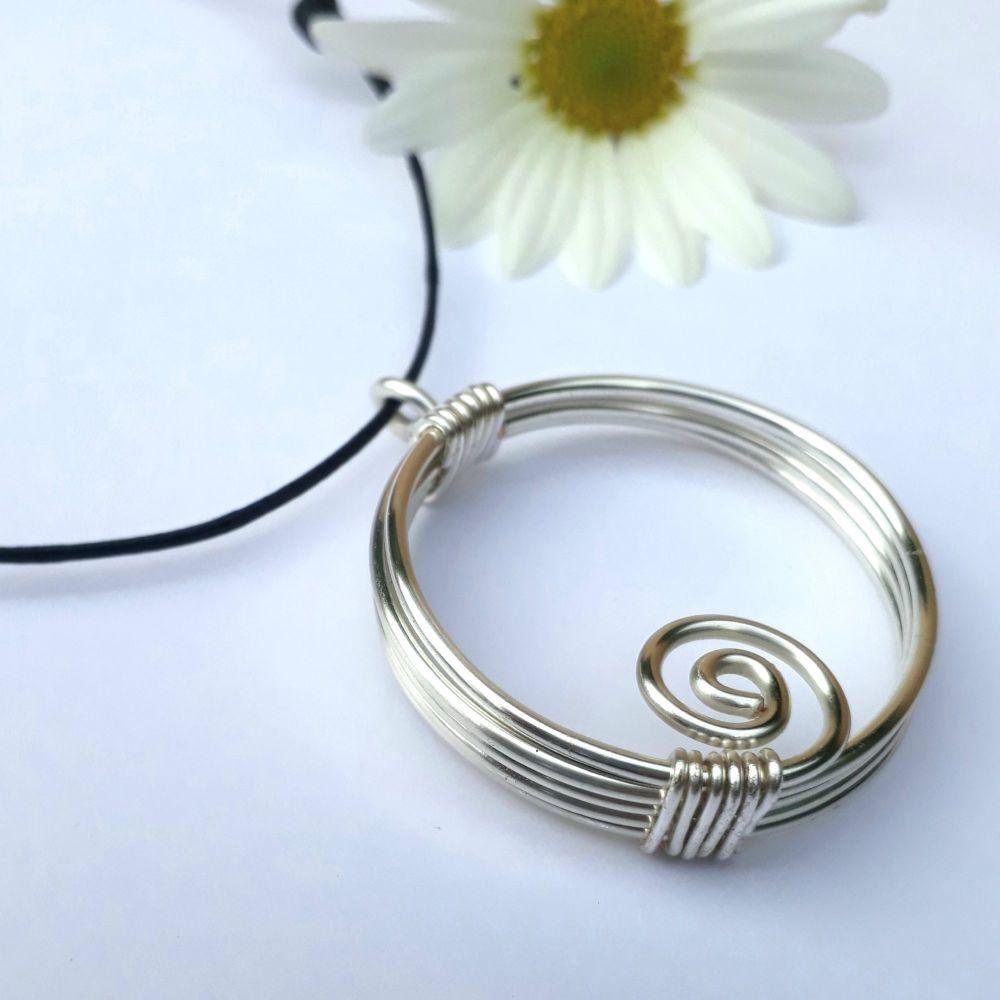 Triple Silver Circular Spiral Pendant