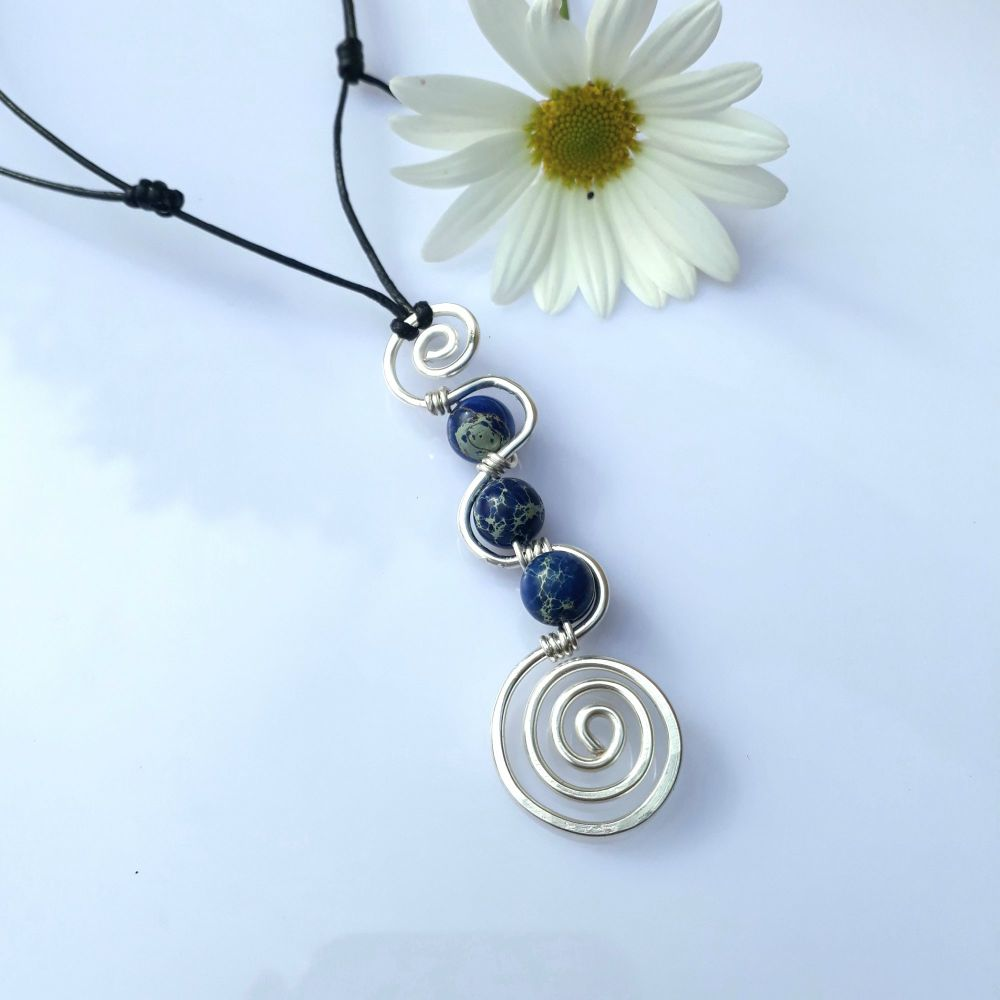 Wavy Silver Spiral Pendant with Sea Sediment Jasper