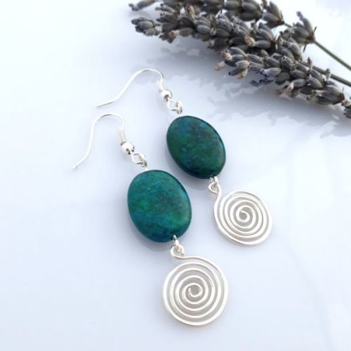 Azurite and open Silver Spiral Earrings