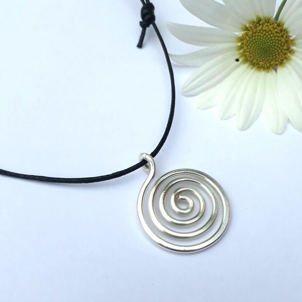Small Silver Spiral Pendant