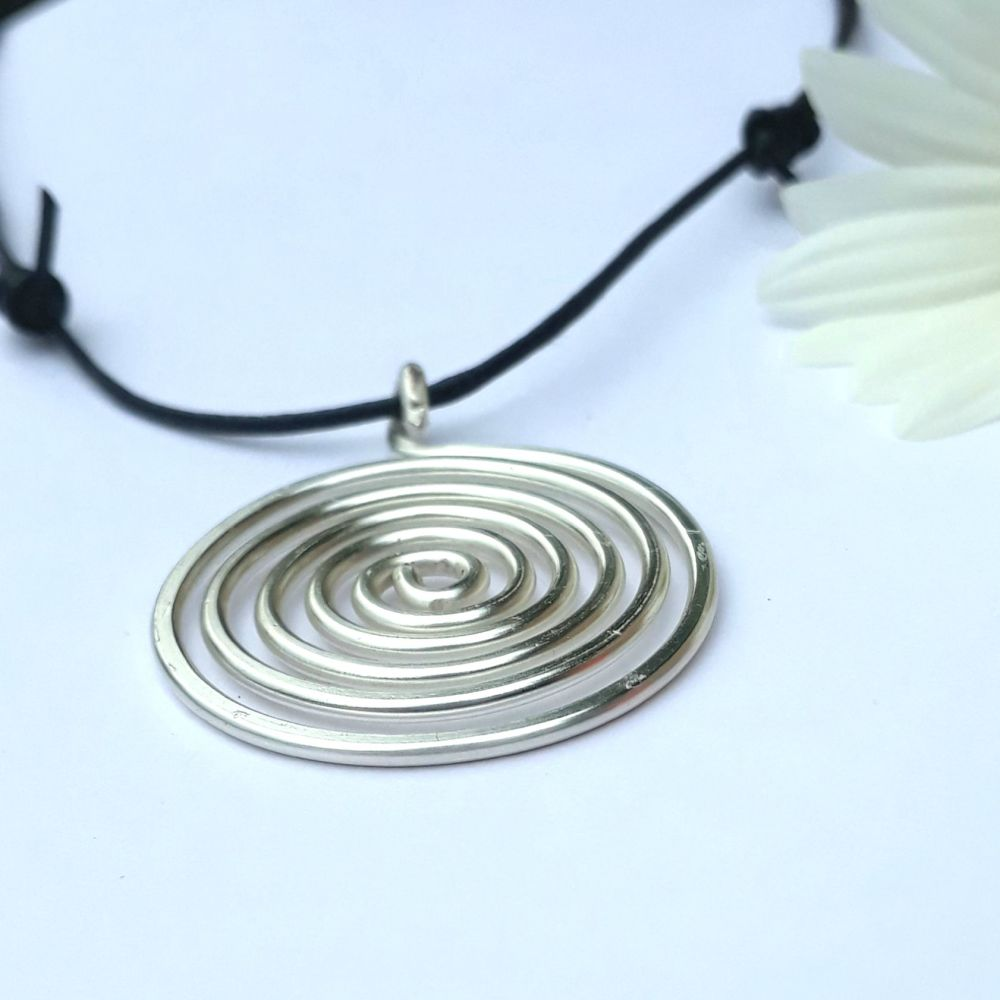 Large Silver Spiral Pendant