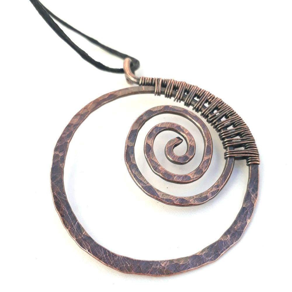 Copper wire wrapped Spiral Circle Pendant