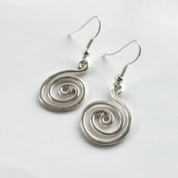 Chunky silver spiral earrings