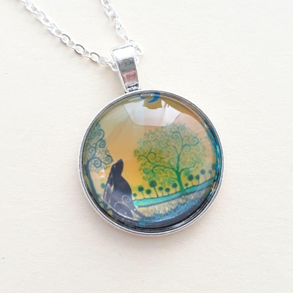Gazing Hare art charm pendant or keyring