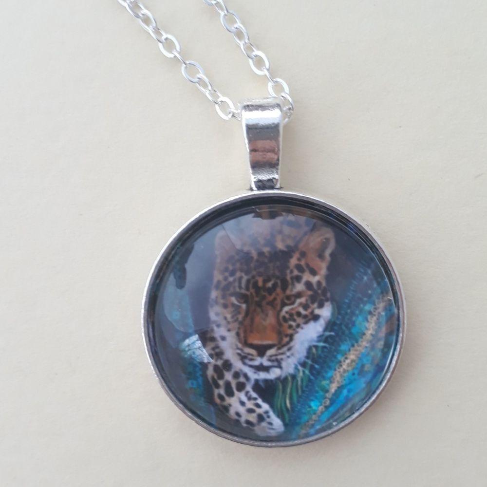 Leopard art charm pendant or keyring
