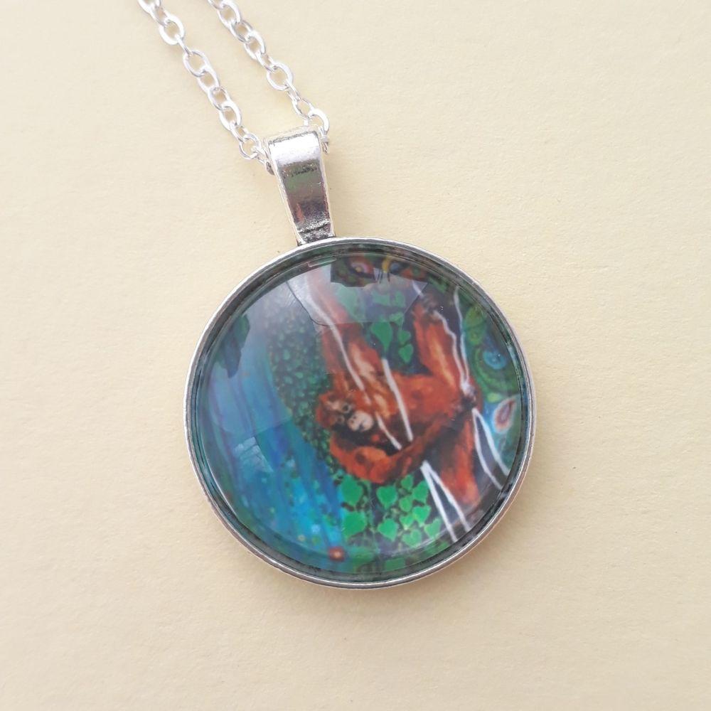 Orangutan art charm pendant or keyring