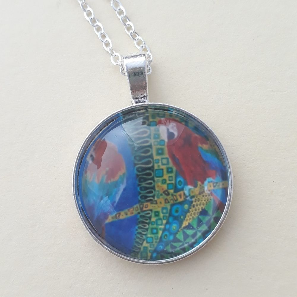 Macaw Parrots art charm pendant or keyring