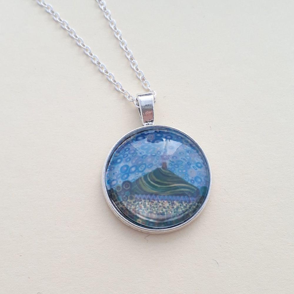 Glastonbury Tor art charm pendant or keyring