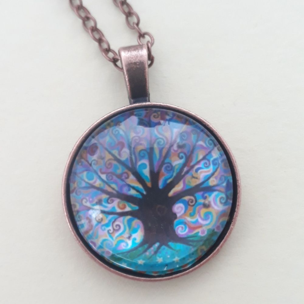 Lovers Tree of Life art charm pendant or keyring
