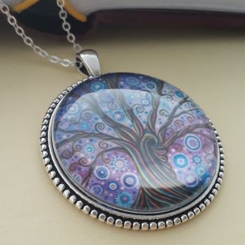 Candy Tree of Life art charm pendant or keyring