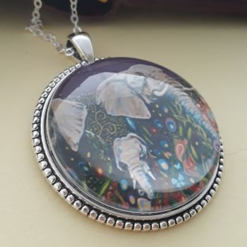 Elephants art charm pendant or keyring