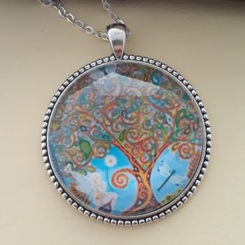 Fairy Tree of Life art charm pendant or keyring