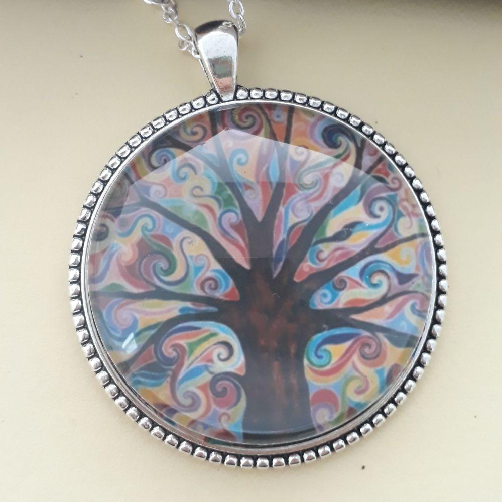 Groovy Tree of Life art charm pendant or keyring