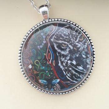 Little owl art charm pendant or keyring