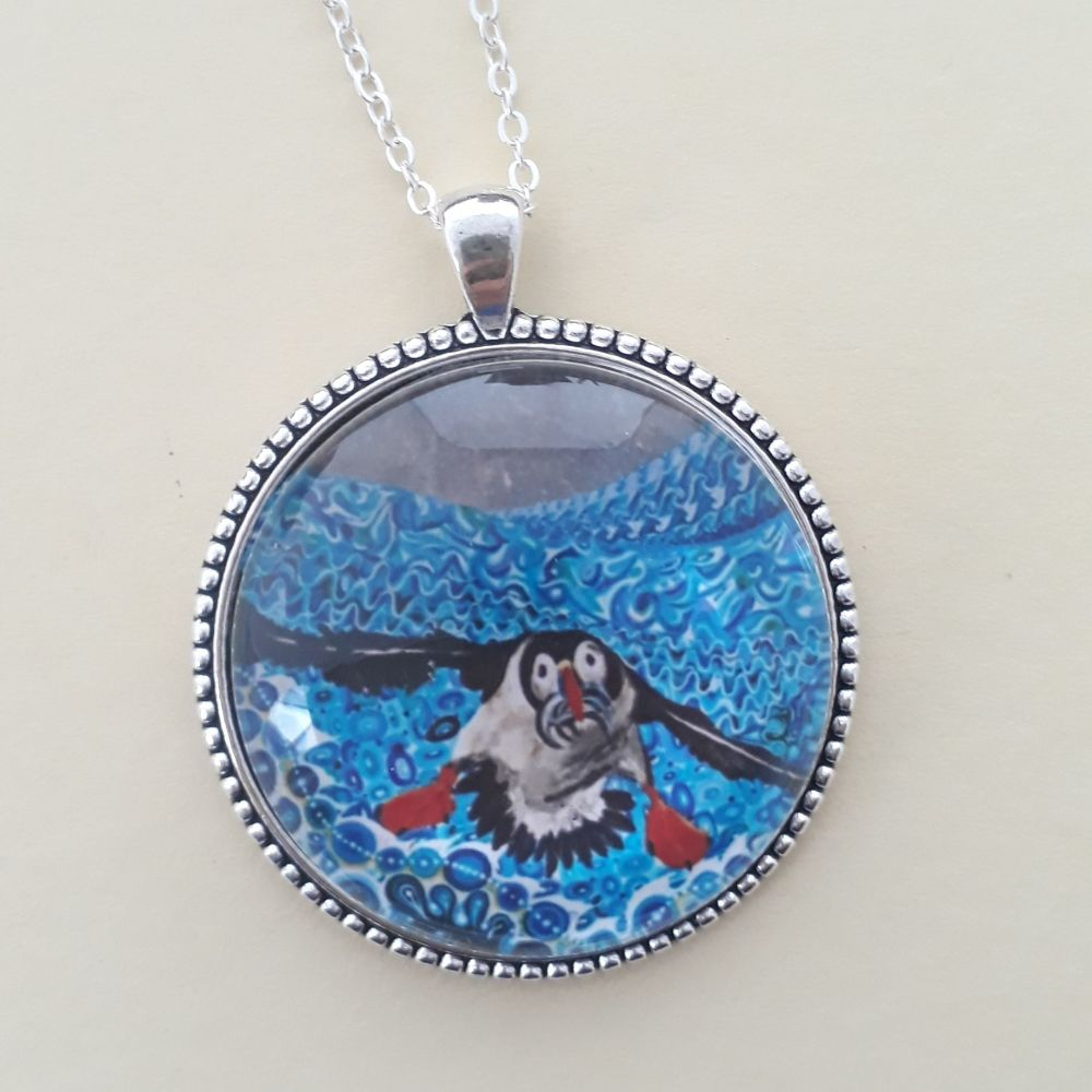 Puffin art charm pendant or keyring